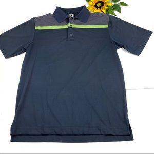 FJ Footjoy Navy Blue Green Striped Golf Polo